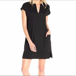 Theory Saturnina Stretch Linen Shift Dress Black